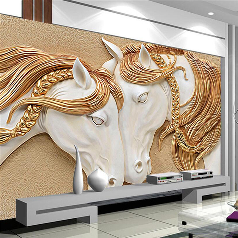 Caballo murales de papel tapiz compra lotes baratos de for Art deco wallpaper mural