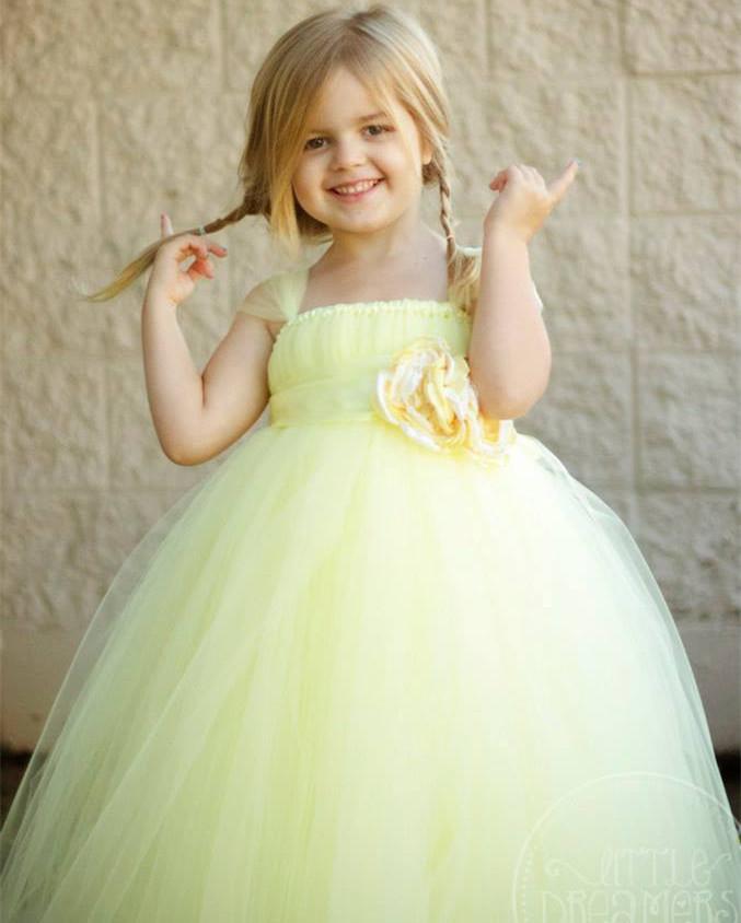 2015 New Flower girl dresses Tulle tutu cuhk child dresses for wedding party elegant lovely High Quality Hand Make(China (Mainland))