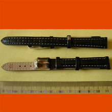 1 x 12mm GENUINE COW LEATHER watch band black 06