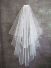 Free Shipping voile mariage White Ribbon Edge wedding veil Two-Layer Tulle Bridal Veil Wedding Accessories velos de novia CO038(China (Mainland))