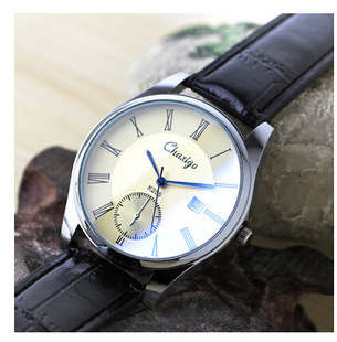 Free Shipping Slim Men's Watch With Calendar Male Table Casual Fashion Leather Waterproof Quartz Watch High hardness Blue Glass(China (Mainland))
