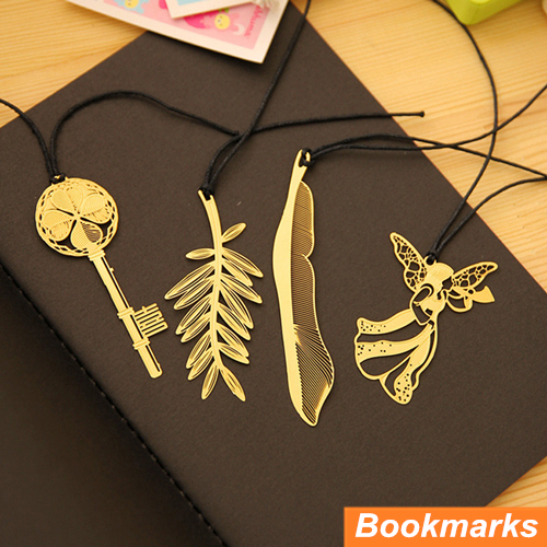 12 pcs/Lot Metal bookmark Gold plated Book holder feather marcador de livro marcapaginas Stationery Office School supplies 6641(China (Mainland))