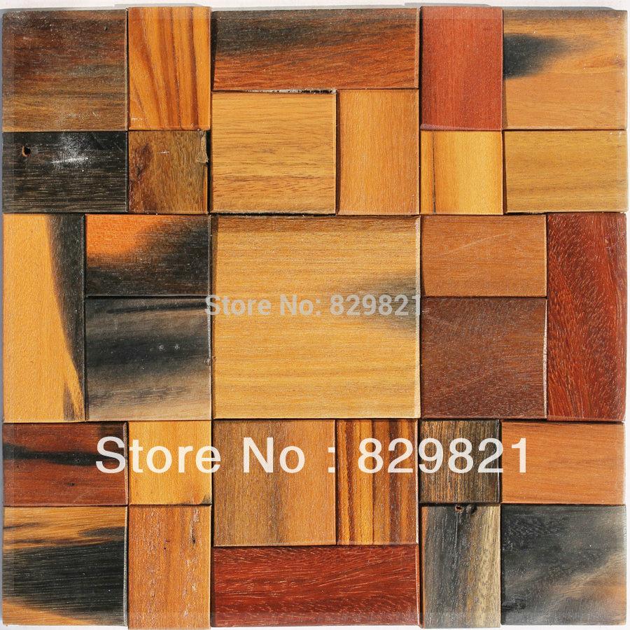 Lujo moderno azulejos de mosaico de madera rompecabezas for Mosaico madera pared