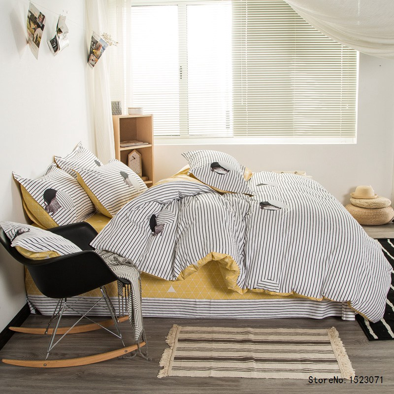 Black And White Striped Bedding Set Duvet Cover Yellow Laice Bed