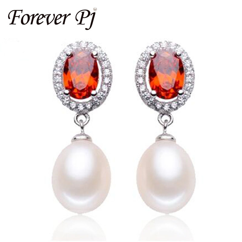 Top Quality Red Zircon Water Drop Pearl Dangle Earrings For Women Party 925 Silver High Luster 9-10 Pearl Drop Earring With Box(China (Mainland))