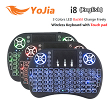 VONTAR i8+ English Russian Backlight Mini Wireless Keyboard 2.4GHz 3 color Touchpad Handheld for Android TV BOX Laptop Backlit(China (Mainland))