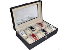 12 Grid Faux Leather Watch Jewelry Display Show Case Box Storage Organizer Holder B003 2443(China (Mainland))