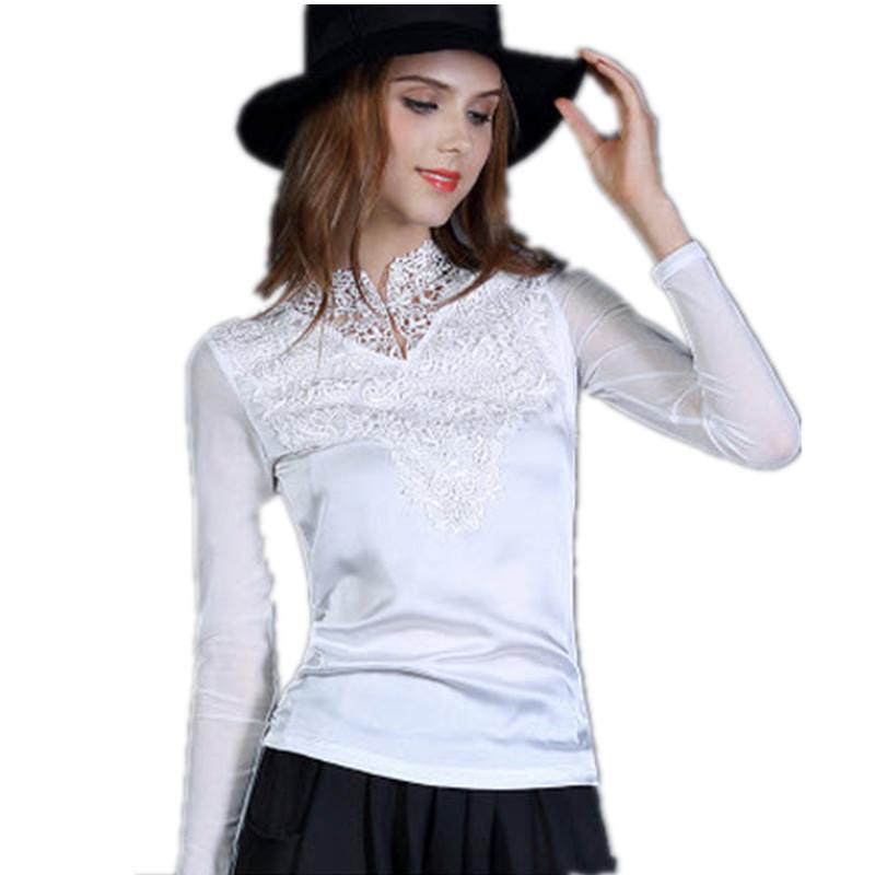 2016 Fashion T Shirt Women Pure Silk Long Sleeve Bud Silk  Tops Tees Camisa Feminina American Apparel Plus Size T-shirts  C50Y1Одежда и ак�е��уары<br><br><br>Aliexpress
