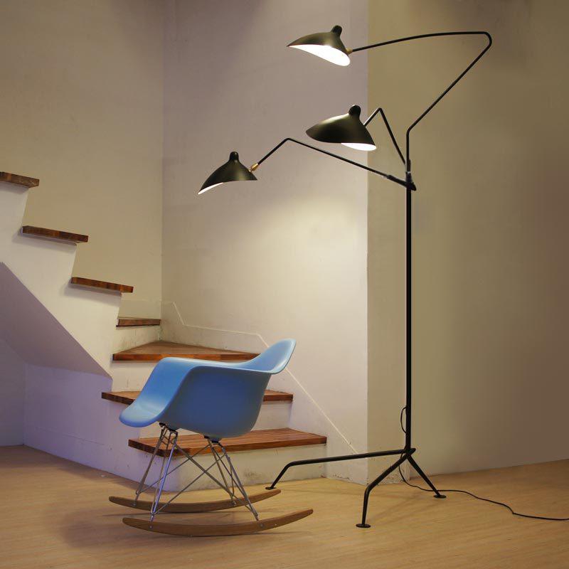 Modern Creative Iron Serge Mouille Three Arms Floor Lamp Loft Industrial Standing Lamp Hotel Bedroom Study Living Room Light <br><br>Aliexpress