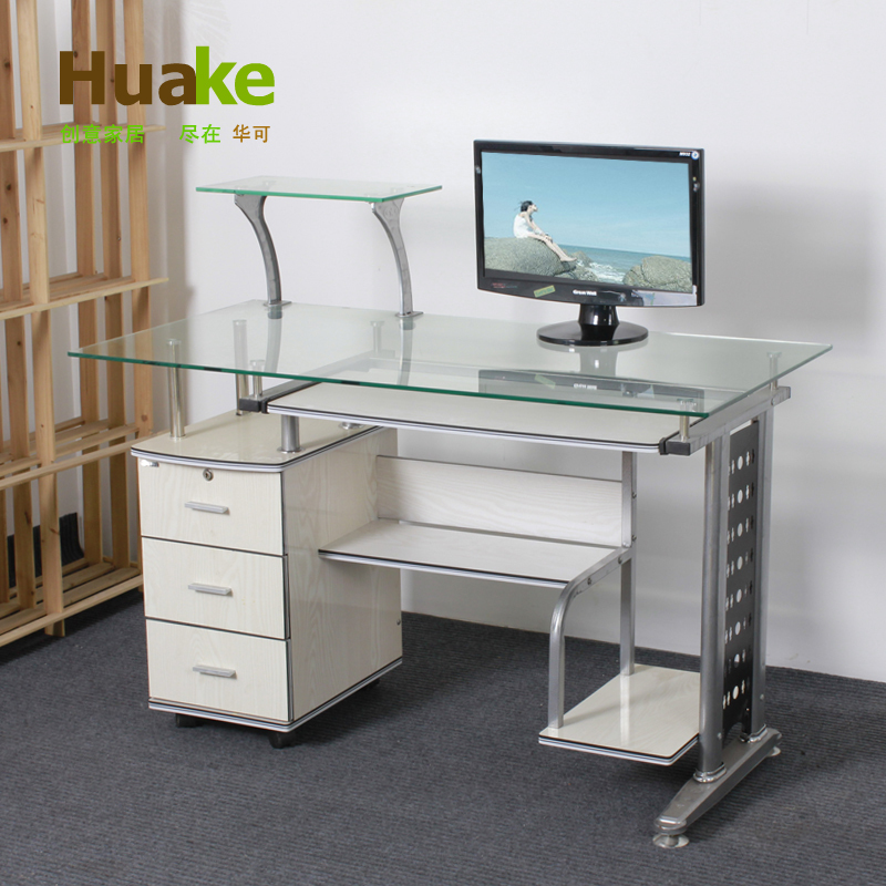 China may be 1 m 2 genuine high grade glass desktop computer desk ikea 3 drawer desk amoy gold - Glass office desk ikea ...