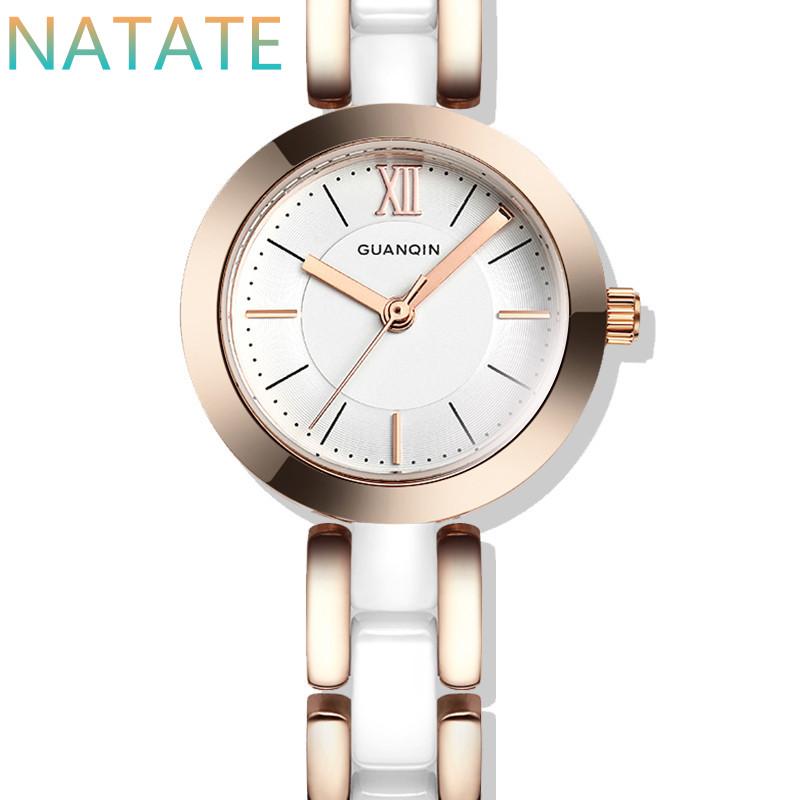 NATATE Women GUANQIN Luxury Brand Watch For Fashion WristWatch Waterproof Casual Quartz Lady Ceramic Bracelet Watches GQ17001(China (Mainland))