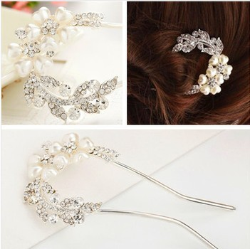 2015 Fashion Hair Jewelry Wedding Bridal Hair Accessories Hair Sticks Rhinestone Flower Tiara F030