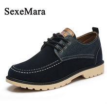 SexeMara Brand 2016 New Alligator Sripe and Suede leather Men's Casual Shoes Fashion Zapatos Hombre Chaussures Jogging Shoes