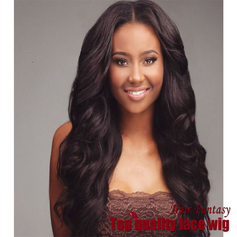 High Quality 100% Heat Resistant Jet Black Color Loose Wavy Synthetic Lace Front Wig with Bangs for African American women