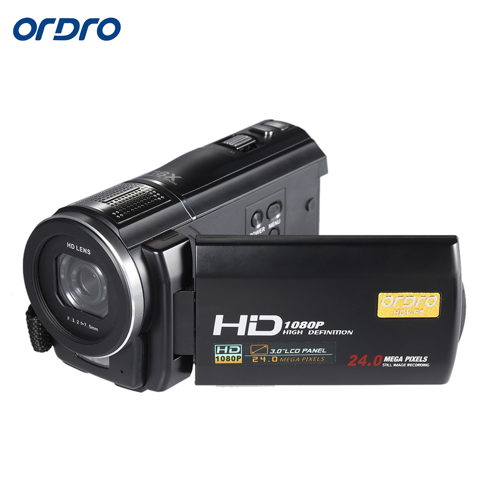 "ORDRO HDV-F5 1080P 3.0"" Rotatable Touch Screen LCD Digital Video Camera 24MP 16X Anti-shake Camcorder DV With Remote Controller(China (Mainland))"