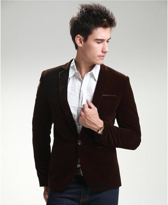 2015 New Fashion Corduroy Blazer Men Red Velvet Long Sleeve Blazer Masculino Casual Fit Slim Plus Size Suit Jacket Man Blazer(China (Mainland))