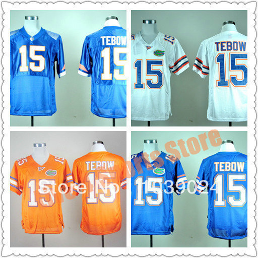 Fast Free Shipping NWT Florida Gators Low Price#15 Tim Tebow Jersey Blue Orange White Pro Combat College Football Jerseys Best G(China (Mainland))