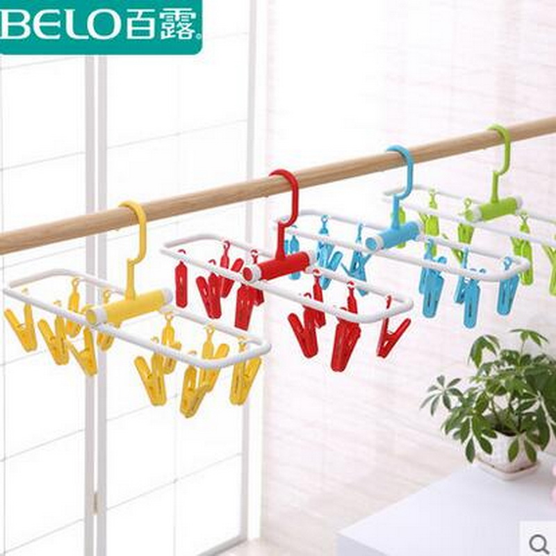 Hot Selling Practical Design Plastic Clothes Hangers Underwear Socks Drying Rack Folding Hanger Windproof Laundry Racks Bel(China (Mainland))
