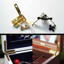 12pcs Mini Golden Antique Brass Jewelry Display Chest Case Watch Makeup Box L 90 degree Support Spring Hinge(China (Mainland))