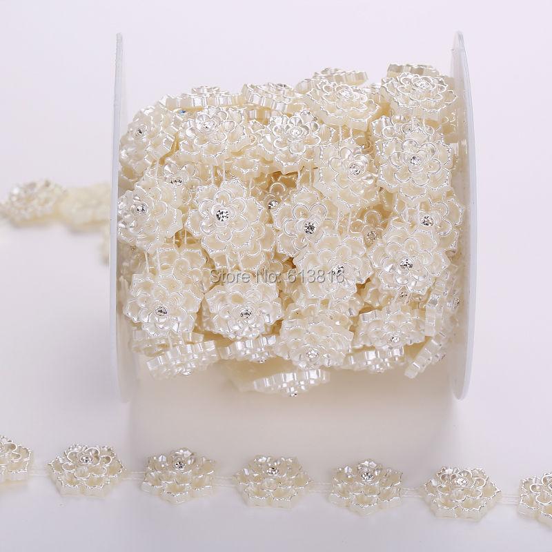 Ivory 1yard ABS pearl rhinestones chain sewing supplies for weddingdress decoration garment wedding dress diy(China (Mainland))