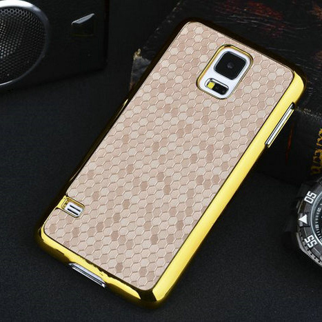Luxury Business Style Square Grid Chromed Edge Hard Case Samsung Galaxy S5 SV I9600 S 5 5.1 inch Plastic Mobile phone Cover - UTOPER Official Store store