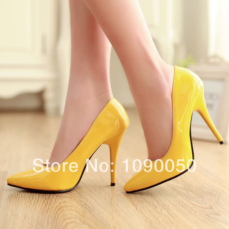 Spring and autumn sexy ultra high heels single shoes pointed toe heels thin candy color wedding shoes plus size 33 34 35-42 43<br><br>Aliexpress
