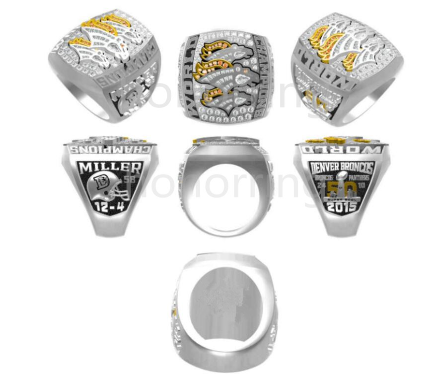 Free Shipping 2015 2016 Denver Broncos Super Bowl Championship Ring MILLER solid men sport fan gift wholesale high quality(China (Mainland))