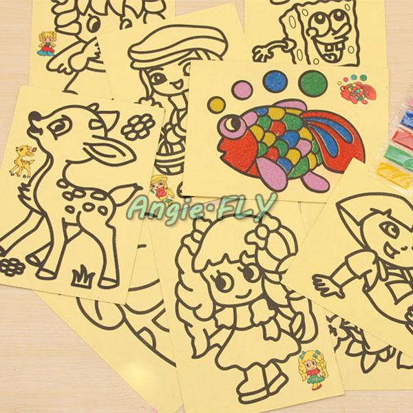 10Pcs/Lot Sand Art Painting Drawing Picture Kids Boys Girls Education Intelligence Study Fun DIY Toy Mixed Patterns(China (Mainland))