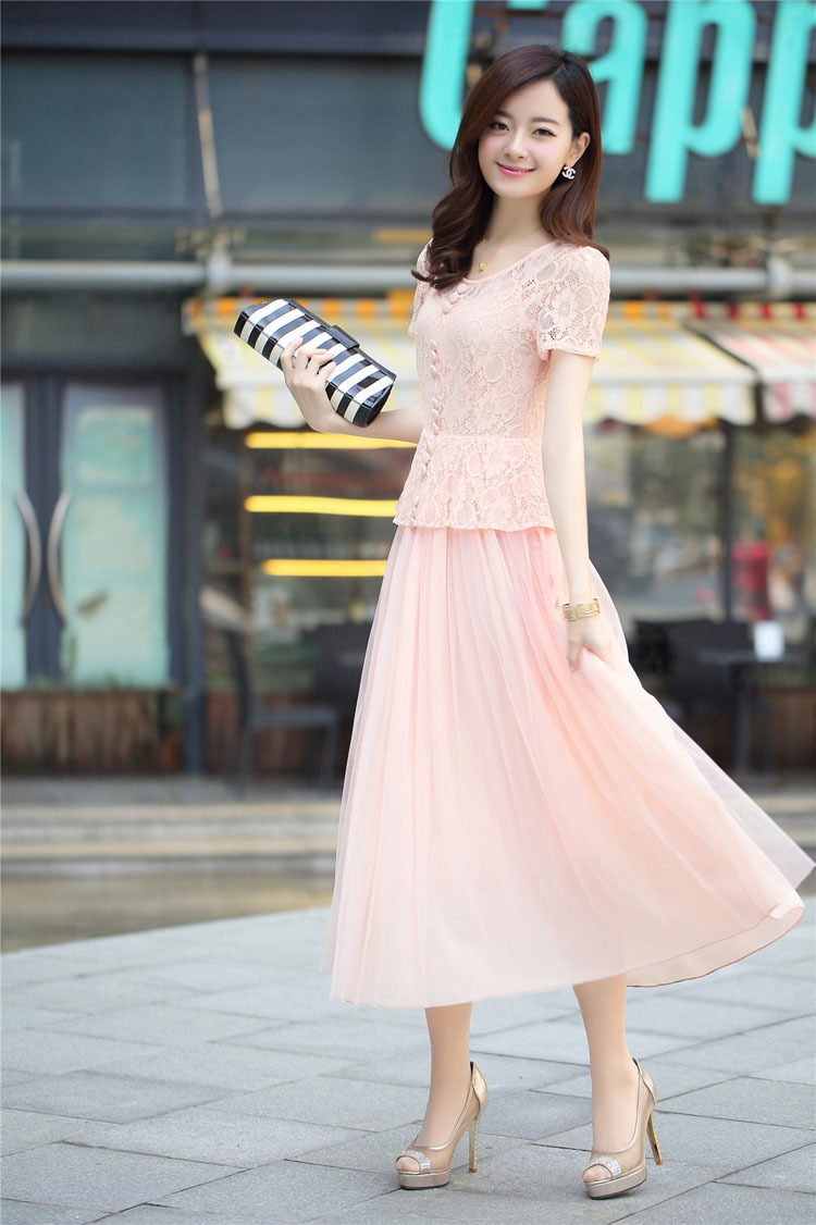 Spring and summer new bohemian dress fake two-piece short-sleeved chiffon dress was thin lace dress female beach