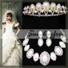 Fast Free Shipping! Gorgeous Alloy with Rhinestones Pearls Wedding Bridal Jewelry Set Necklace Earrings Tiara -JV53(China (Mainland))
