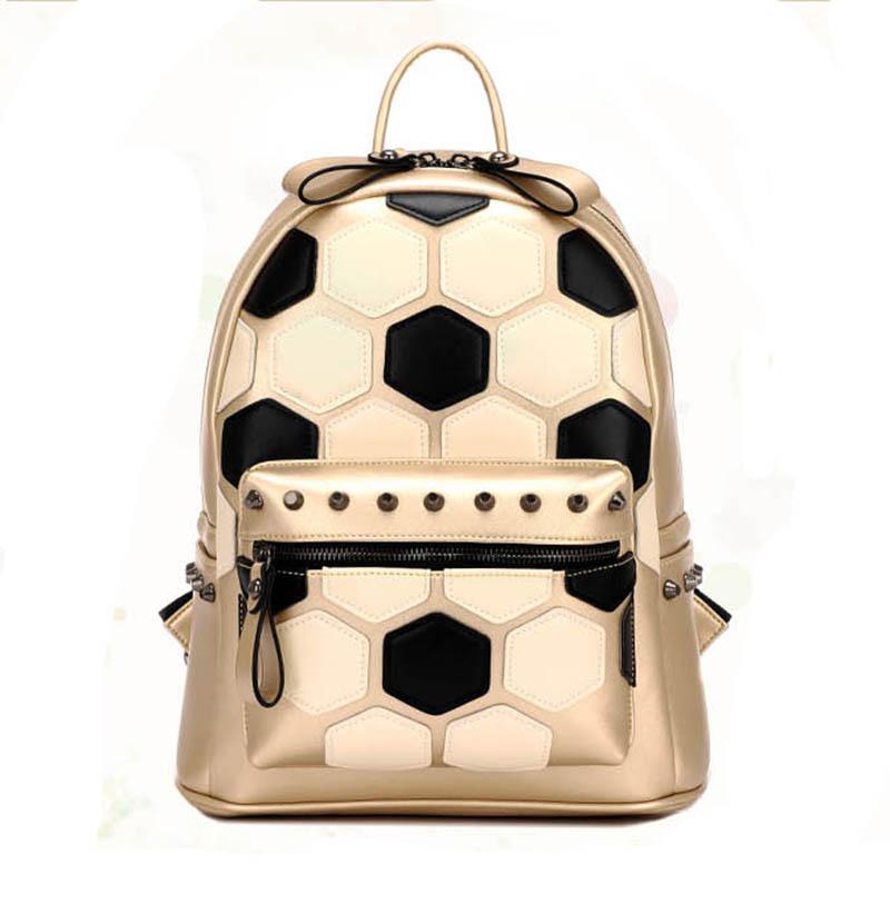Hot School Student Backpack Gold Soccer Pattern Rivet Women Leather Backpack Bags Ladies Designer Brand Patchwork