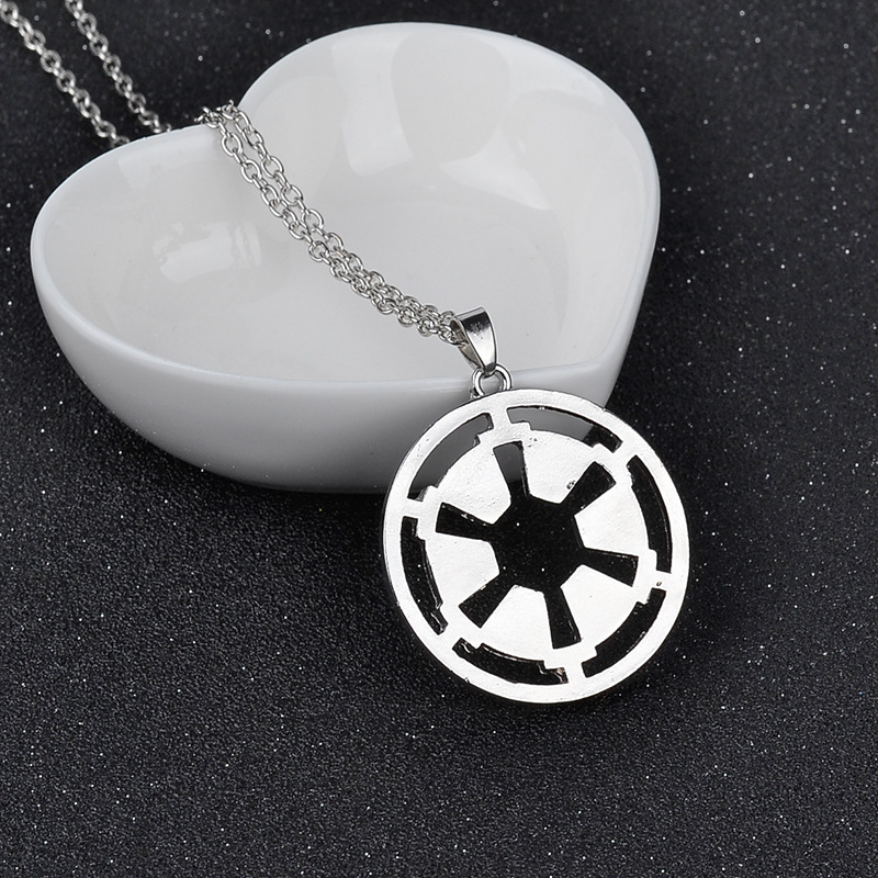 Free Shipping 24pcs/lot Movie Star Wars 7 Galactic Empire Chain Necklace Fashion Silver Plated Pendant Necklace For Women&Men(China (Mainland))