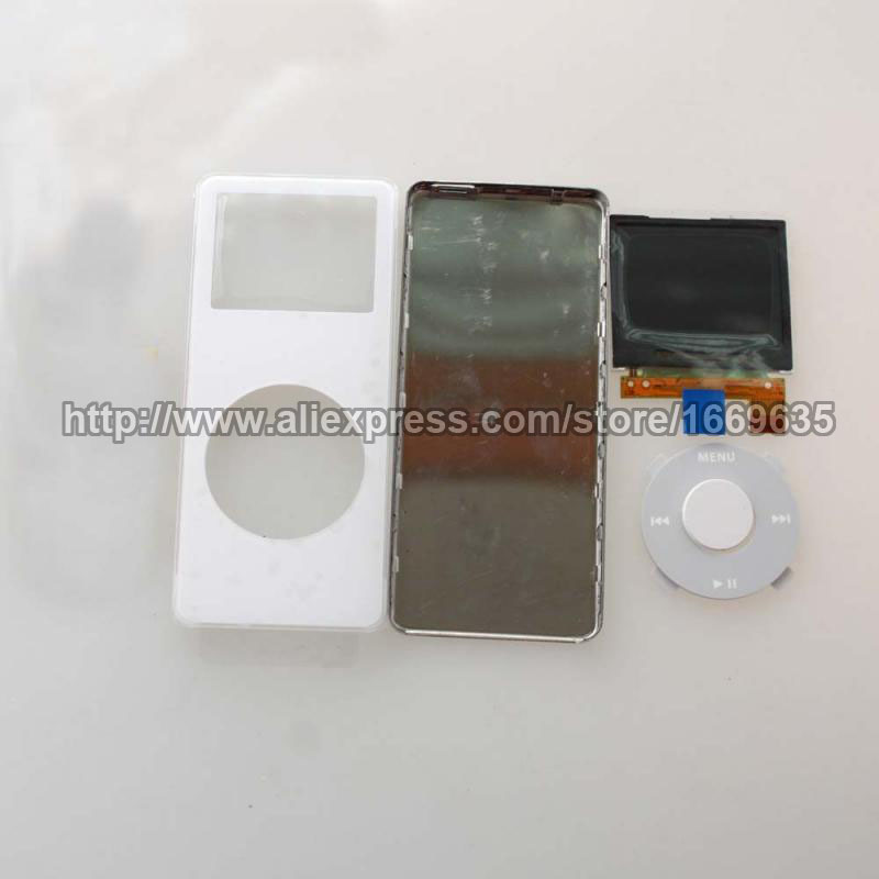 White Front Housing Case Faceplate + Back Cover + LCD Screen + Click Wheel for iPod Nano 1st(China (Mainland))