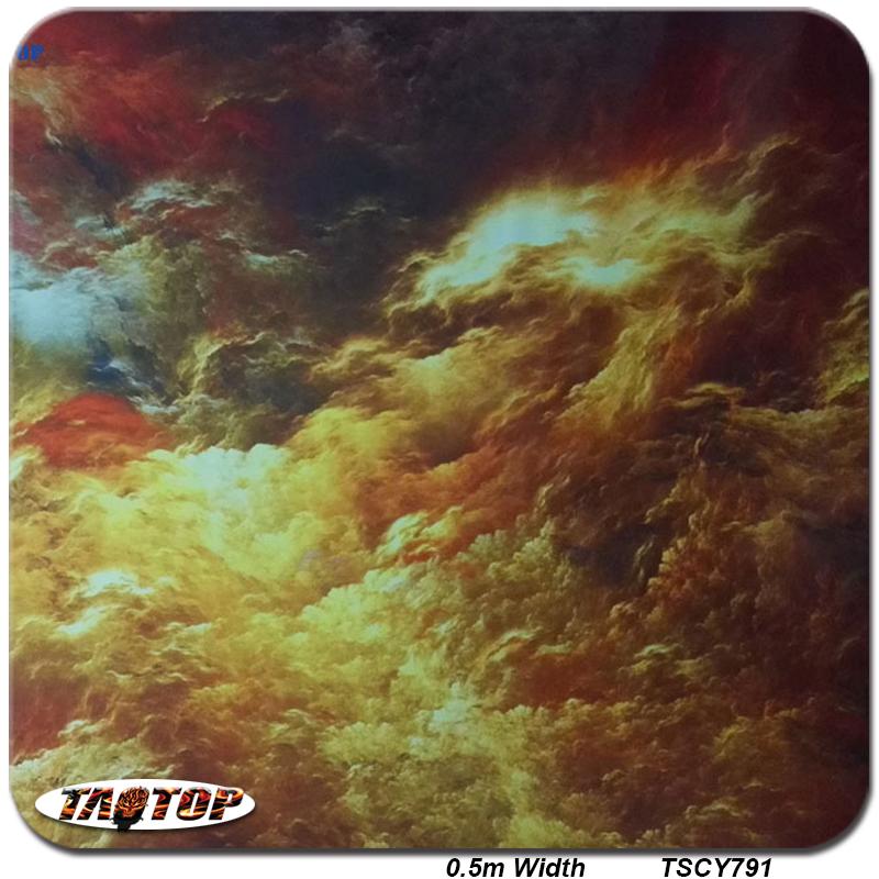 TSAUTOP TSCY791 0.5M * 10M Red and Gold Cloud Water Transfer Printing Film Liquid Hydrographics Film(China (Mainland))
