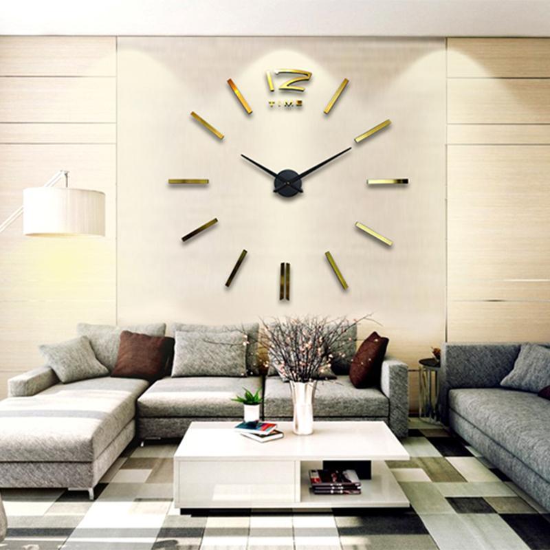 new 3d mirror wall clock modern design decorative mirror wall clocks