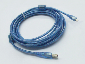 5M USB data cable  Transparent blue  USB AM to 5P Cable With two ferrite