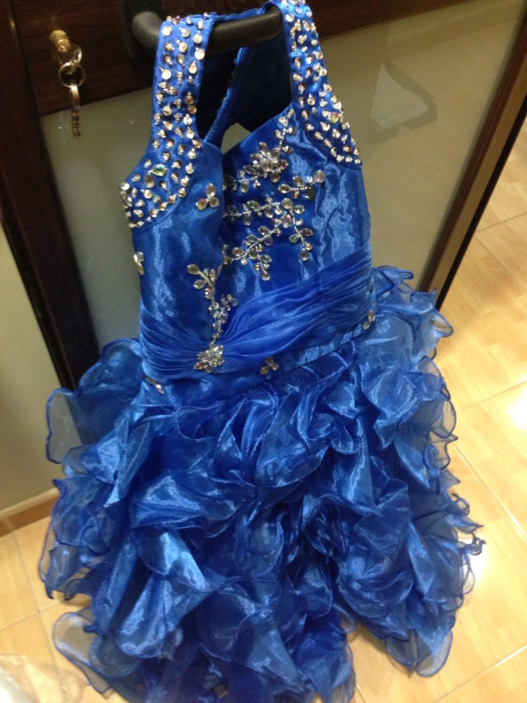 2015 Ball Gown Blue White Pink Flower Girl Dresses Cute Ball Gown Halter Summer Girls Pageant