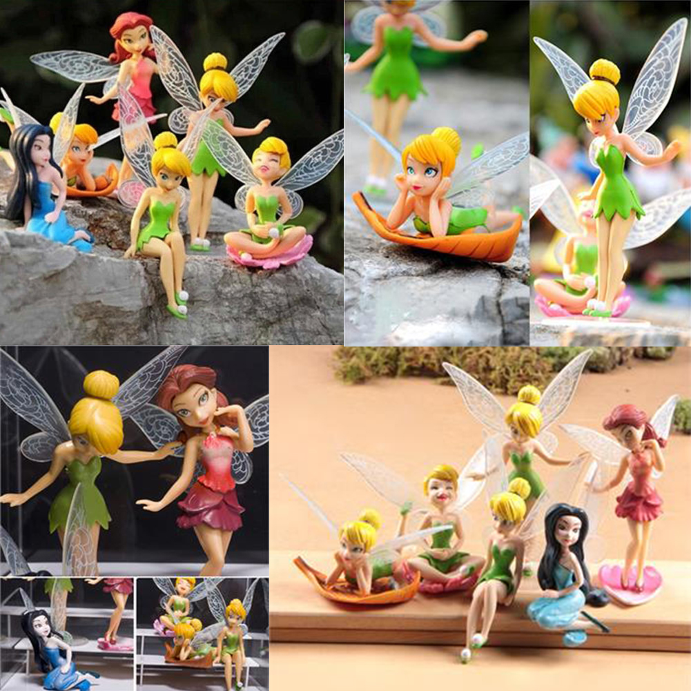 6pcs Tinker Bell Fairies Princess Figures PVC Doll Toy Cake Topper Kids ToyTinker Bell Fairies toys(China (Mainland))