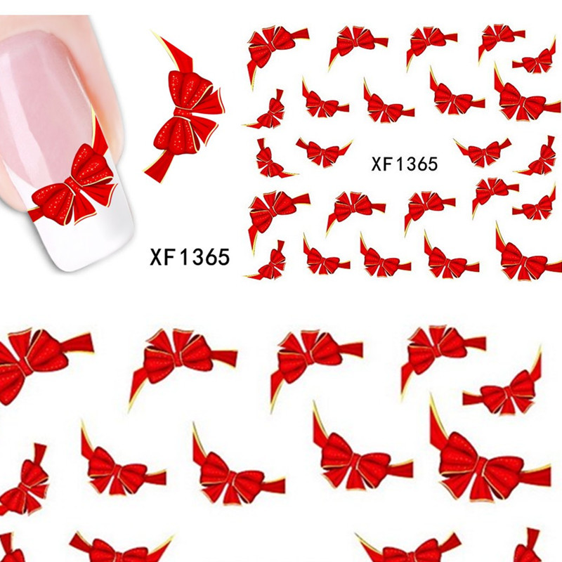1 sheets Fancy Red Butterfly Tie Sweets Casual Nail Decals Stickers Water Mark Beauty Decorations Foils French Tips Tools XF1365(China (Mainland))