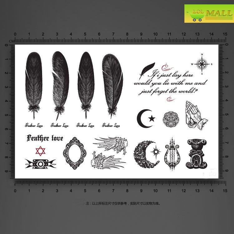 many designs eathers wings Mirror Temporary tattoo Waterproof body tattoo stickers body art#TA094