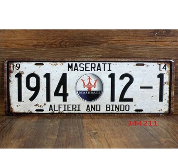 Vintage Car Plates Luxury Cars License Plate Vintage Metal Sign Tin Poster Bar Cafe Shop---MASERATI Tin Signs Neon Beer Signs(China (Mainland))