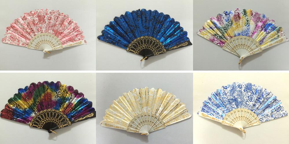 12pcs Chinese Silk folding Bamboo Hand Fan Fans Art Handmade Flower designs(China (Mainland))