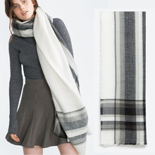 Za Fashion Winter Scarf 2016 Tartan Plaid Black ,White Acrylic Blanket Scarf for Women