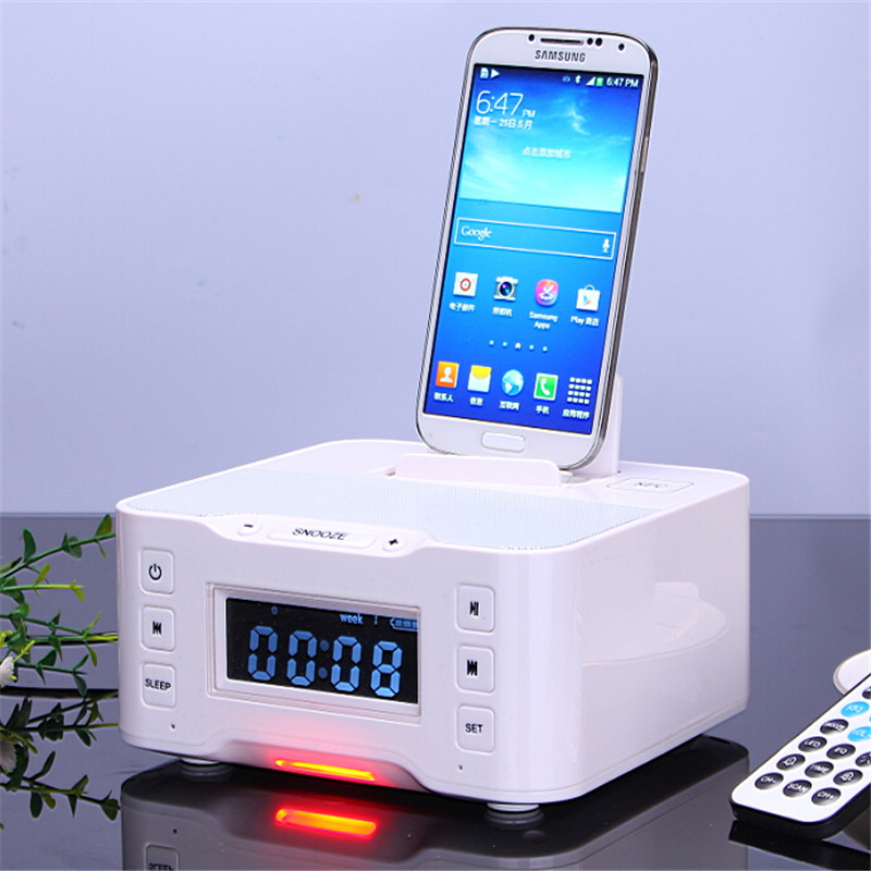 A9 Bluetooth USB Charging Dock Station Speaker with Advanced NFC FM Radio Alarm Clock for Iphone6 6s Samsung Galxy S6 s5 Note4(China (Mainland))