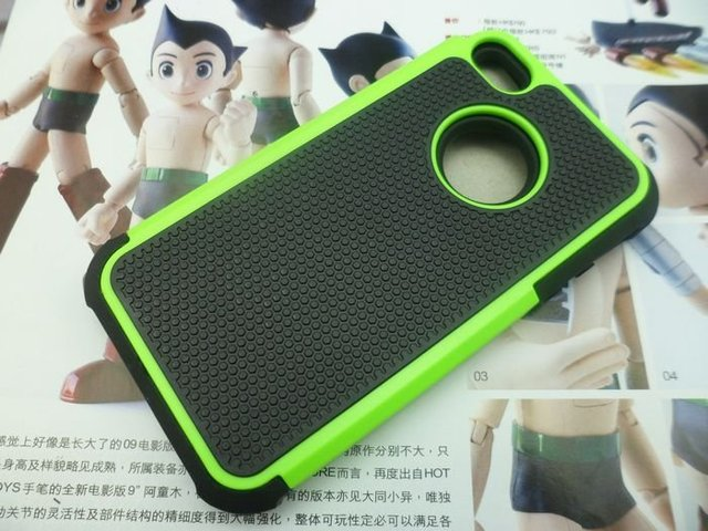 Double Colors PC+Silicone Two Parts Protector Case For Iphone 4S 4G 4,10pcs/lot,Free Shipping
