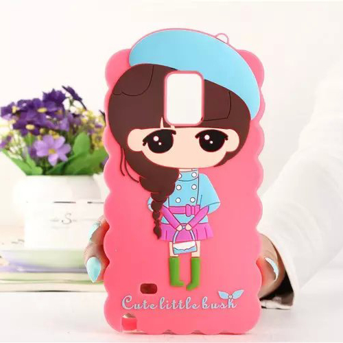 2015 New Cute Cartoon Girl Lovely Little Bush Xiaoxi Case Soft Silicone Phone Cover for Samsung Galaxy Note3 Note4 Ebay Reseller(China (Mainland))