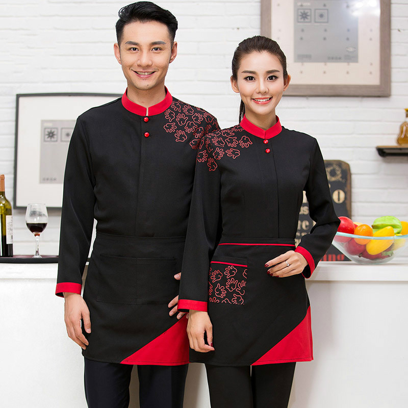 Hot Pot Restaurant Coffee Shop Waiter Uniforms Female Hotel Waiter Korean Clothes with Long Sleeves with Apron(China (Mainland))