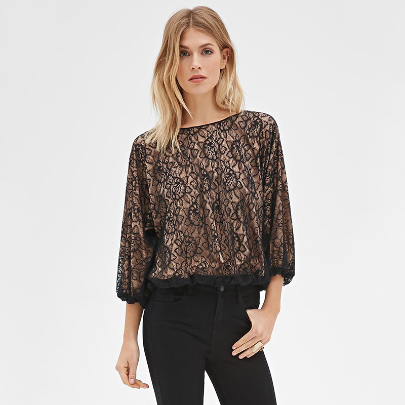 Top Wear Women Lace Blouse Three Quarter Sleeves(China (Mainland))