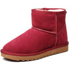 Para mujer de Cuero Genuino Tobillo Invierno Botas de Piel de Nieve Más El Tamaño 34-43 Zapatos de Mujer Ugs Australia Mujeres Zapatillas Mujer(China (Mainland))