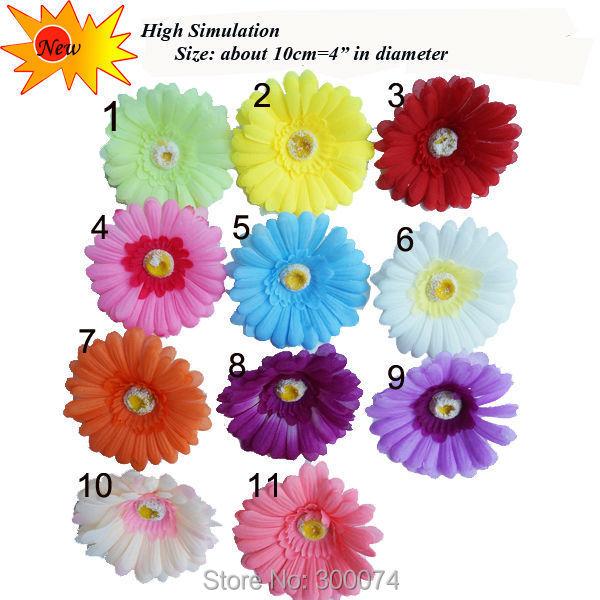 10pcs/bag 10cm Artificial Silk Gerbera Daisy Head Wedding diy hair clip, Yellow Decorative Flowers, Bridal Hair Clip Craft Flori(China (Mainland))